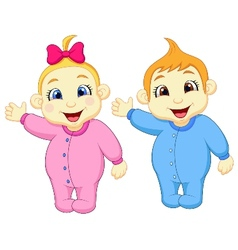 Baby boy and girl cartoon waving hand vector image