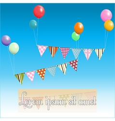 Bunting floating with balloons and sample text vector image