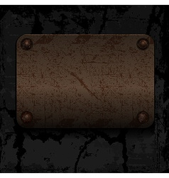 empty old rusty metal plate with rivets on the vector image