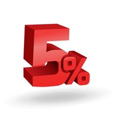 5 percent digits vector image