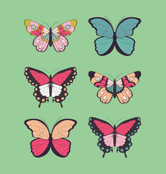 collection of six hand drawn colorful butterflies vector image vector image