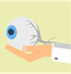 doctor hand holding human eye healthcare vector image