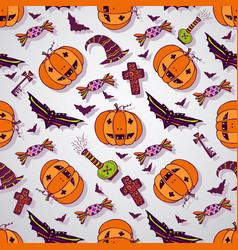 halloween sketches background hand drawn vector image vector image