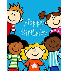 Kids birthday card vector image