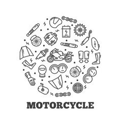 line icons moto parts motorcycle vector image vector image