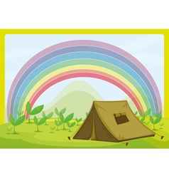A tent and a rainbow vector image vector image