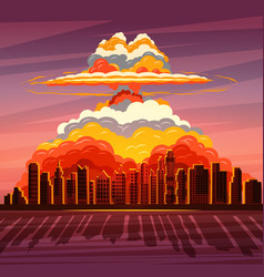 nuclear explosion atom bomb falling on big city vector image