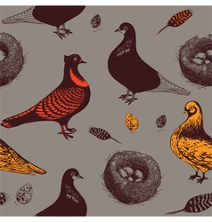 Pigeons and nests Seamless pattern vector image vector image