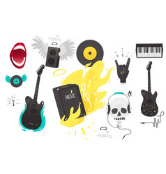 set of rock music heavy metal icons sign symbols vector image vector image