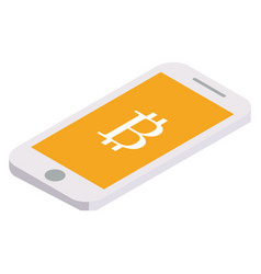 bitcoin flies on the phone vector image vector image