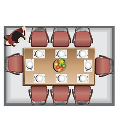 Dining furniture top view set 3 vector image vector image