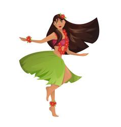 hawaiian hula dancer young pretty woman vector image