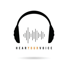 headphone hear voice icon in black vector image