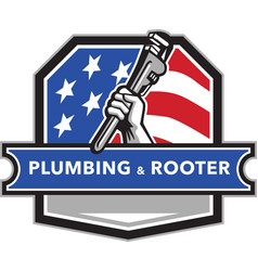 Plumber Hand Pipe Wrench USA Flag Crest Retro vector image vector image