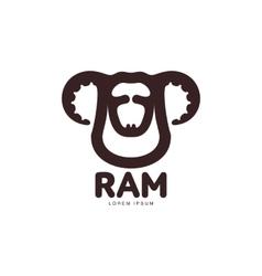Ram sheep lamb head graphic logo template vector image