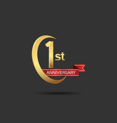 1 year anniversary logo style with swoosh ring vector