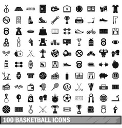 100 basketball icons set simple style vector image