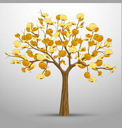 A tree from which gold coins grow vector