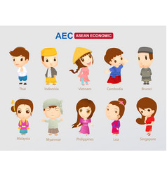 aec - asean economic community cartoon character vector image