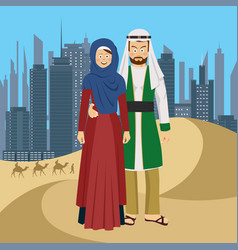Arab couple standing in desert against skyscrapers vector