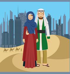 Arab couple standing in desert against skyscrapers vector