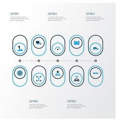Auto colorful icons set collection of chassis vector