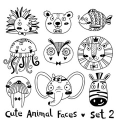 avatars funny animal faces hedgehog bear fish vector image