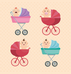 baby shower card with little kids vector image