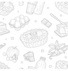 baking ingredients seamless pattern homemade pie vector image