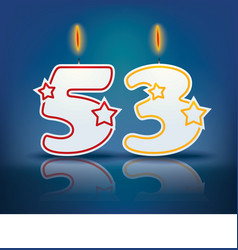 Birthday candle number 53 vector