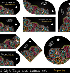 Black hippie tags set vector image