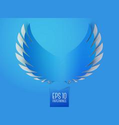 Blue paper angel wings emblem vector image