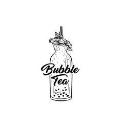 bubble tea black and white vector image