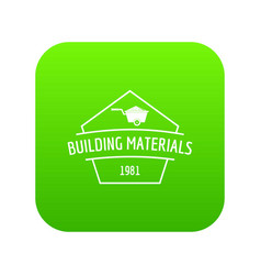 Building materials icon green vector