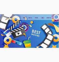 cinema beast movies web site set vector image