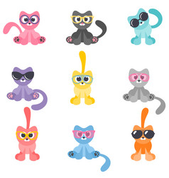 collection colorful cartoon cats with glasses vector image