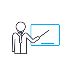 conduct of lecture thin line stroke icon vector image