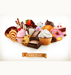 Confectionery chocolate cakes cupcakes donuts 3d vector