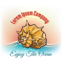 Cruise travelling logo with seashell vector image