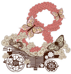 cute greeting card with fake carriage and number vector image