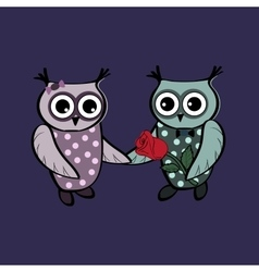 Cute owls on a date vector image
