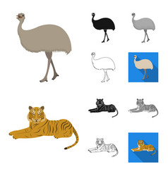 different animals cartoonblackflatmonochrome vector image