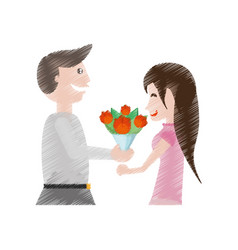 Drawing happy couple with flowers vector