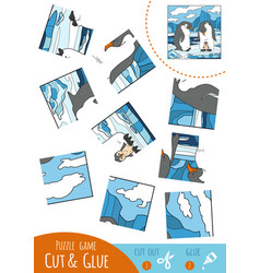 education puzzle game for children penguin vector image