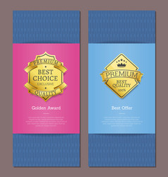 exclusive product of premium quality gold labels vector image