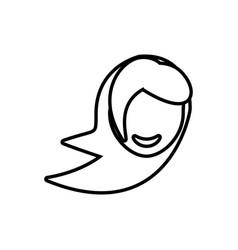 Face girl funny glasses outline vector