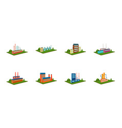 factory and planticons in set collection for vector image