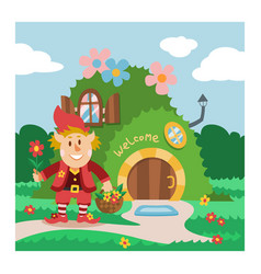 fantasy gnome house cartoon fairy treehouse vector image