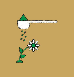 Flat shading style icon fertilizer and flower vector