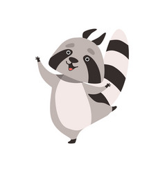 funny raccoon happy humanized grey coon animal vector image